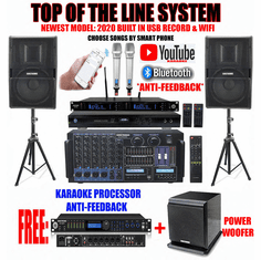 "Singtronic Professional Complete 5000W Karaoke System <font color=""#FF0000""><b><i>Top of the Line Newest: 2020 Super Tweeters &amp; Monster Bass W/ Wifi & Voice Recording</i></b></font> FREE: Subwoofer & 80,000 Songs & Youtube Karaoke"