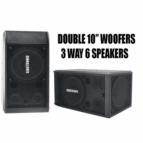"Singtronic KS-2000 Professional 3000W Vocalist Karaoke Speaker System (Pair) <font color=""#FF0000"">Newest: 2020 Super Tweeters &amp; Double 10&quot; Woofer</font>"