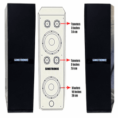 "Singtronic KS-2000DW Professional 3000W Double Vocalist Floor Standing Karaoke Speaker System Piano Finish 2 x 10"" Woofers & 4 x Super Tweeters (Pair)"