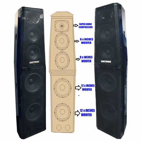 Singtronic KS-4000DW Professional 4000W Vocalist Karaoke Speaker System  (Pair) Upgrade Model: 2019 Super Compressor Monster Bass Best Quality