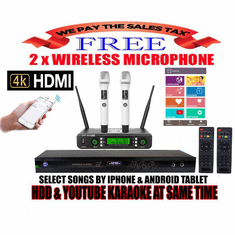 Singtronic KTV-9000UHD Professional 4TB Hard Drive Player Package with UHF-350Pro 2 x Wireless Microphone Free: 50,000 Songs & Unlimited Youtube