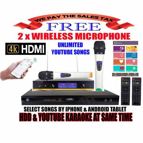 """Singtronic KTV-9000UHD Professional 4TB Hard Drive Player Package with UHF-350W Dual Wireless Microphone <font color=""""#FF0000""""><b><i>Free: 50,000 Songs & Unlimited Youtube Karaoke</i></b></font>"""