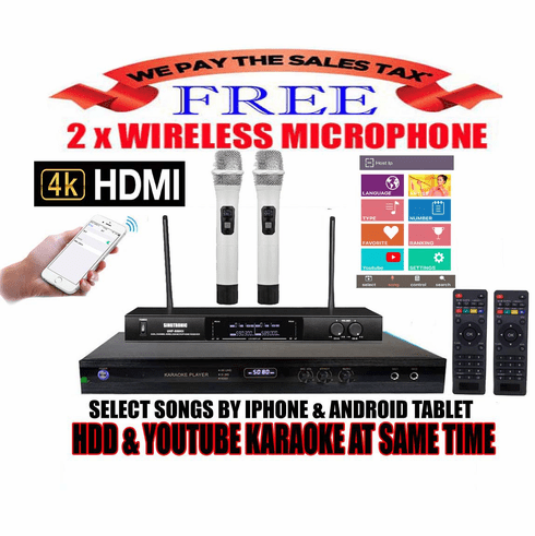 """Singtronic KTV-9000UHD Professional 4TB Hard Drive Player Package with UHF-550KII Dual Wireless Microphone <font color=""""#FF0000""""><b><i>Free: 50,000 Songs & Unlimited Youtube Karaoke</i></b></font>"""