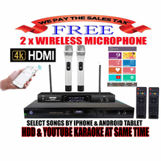 "Singtronic KTV-9000UHD Professional 4TB Hard Drive Player Package with UHF-550KII Dual Wireless Microphone <font color=""#FF0000""><b><i>Free: 50,000 Songs & Unlimited Youtube Karaoke</i></b></font>"