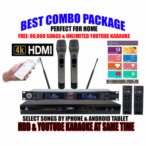 """Singtronic KTV-9000UHD Professional 6TB Hard Drive Player Package with UHF-550Pro Dual Wireless Microphone <font color=""""#FF0000""""><b><i>Free: 80,000 Songs & Unlimited Youtube Karaoke</i></b></font>"""