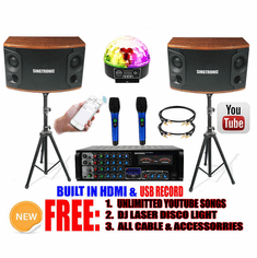Singtronic Professional 1200W Youtube Karaoke System Select Songs via iPhone / iPad & Android Tablets. Built in USB Voice Record, Bluetooth, Optical & HDMI-Arc.