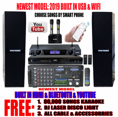 "Singtronic Professional 3000W Karaoke System with 3.5"" LCD Screen <font color=""#FF0000""><b><i>Newest: 2019 Built in WifI, Voice Recording & Bluetooth</i></b></font> Free: 80,000 Songs & Youtube Unlimitted Songs"