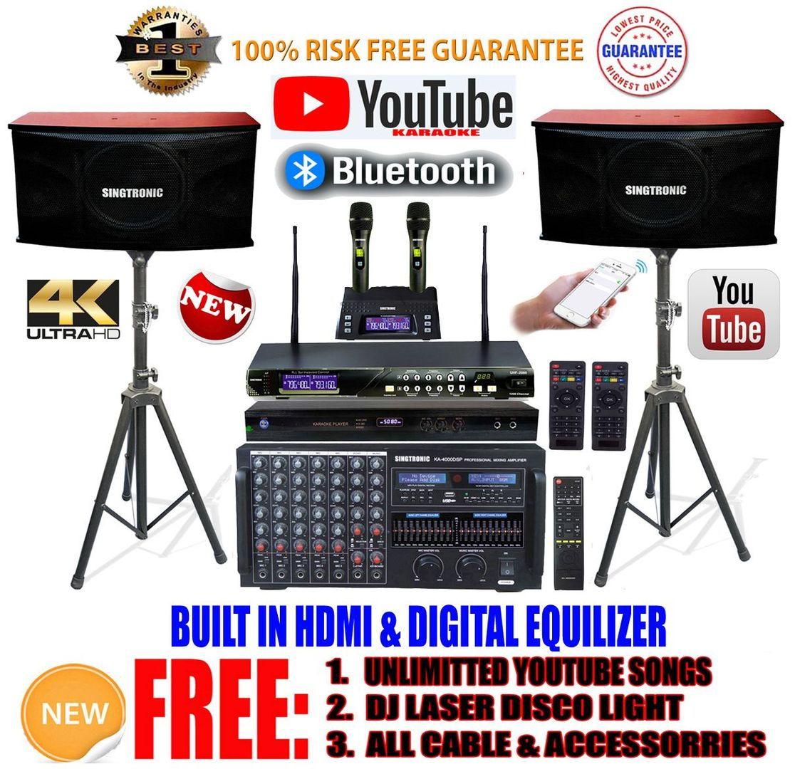 Singtronic Professional Complete 4000W Karaoke System Model: 2019 Loaded  80,000 Songs Wifi, HDMI, Voice Recording & Youtube Unlimited Songs