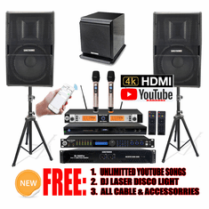 "Singtronic Professional Complete 3000W Karaoke System <font color=""#FF0000""><b><i>Model: 2019 Loaded 80,000 Songs</i></b></font> Wifi, HDMI, Optical & Youtube Unlimited Songs Free: Power Subwoofer"