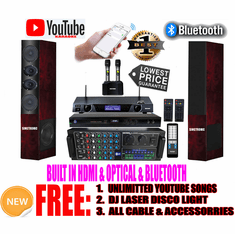 "Singtronic Professional Complete 3000W Karaoke System <font color=""#FF0000""><b><i>Model: 2019 Loaded Over 80,000 Songs</i></b></font> Wifi, HDMI, Optical, Bluetooth Function & Youtube Unlimited Songs"