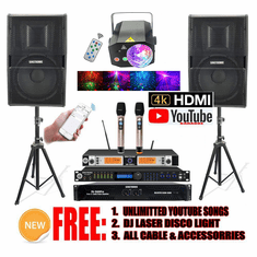 Singtronic Professional Complete 3000W Karaoke System Built in 5.1 Channel, Digital Optical control by Iphone & Ipad via Youtube Unlimited Songs Built in Anti-Feedback