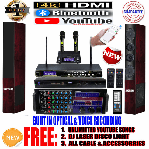"""Singtronic Professional Complete 3000W Karaoke System <font color=""""#FF0000""""><b><i>Newst: 2019 Loaded 80,000 Songs</i></b></font> Wifi, 4K HDMI, Voice Recording, Bluetooth & Optical Input"""