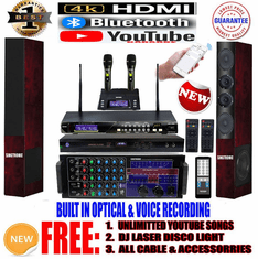 "Singtronic Professional Complete 3000W Karaoke System <font color=""#FF0000""><b><i>Newst: 2020 Loaded 80,000 Songs & Unlimitted Youtube Karaoke </i></b></font> Wifi, 4K HDMI, Voice Recording, Bluetooth & Optical Input"