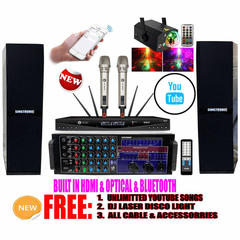 """Singtronic Professional Complete 3000W Youtube Karaoke System via Iphone/Ipad & PC Tablets Built in HDMI, Optical, USB Voice Recording & Bluetooth Function <font color=""""#FF0000""""><i>Free: DJ Light</i></font>"""