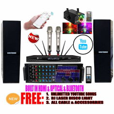 Singtronic Professional Complete 3000W Youtube Karaoke System via Iphone/Ipad & PC Tablets Built in HDMI, Optical, USB Voice Recording & Bluetooth Function Free: DJ Light