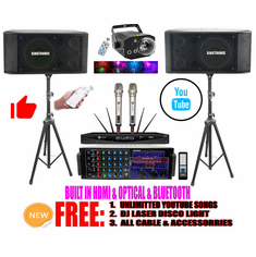 Singtronic Professional Complete 3000W Karaoke System Built in HDMI, Optical, USB Voice Recording & Bluetooth Function Unlimited Youtube Songs via Iphone/Ipad & PC Tablets