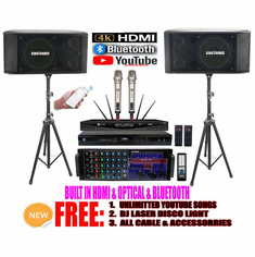 Singtronic Professional Complete 3000W Karaoke System Newst: 2020 Loaded 80,000 Songs Wifi, Voice Recording, Bluetooth, HDMI & Digital Optical/Coax
