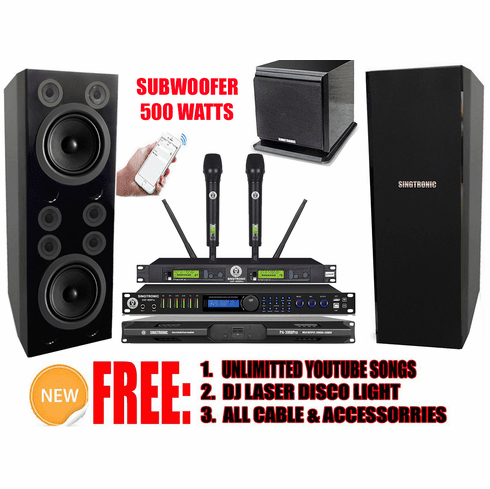 """Singtronic Professional Complete 4000W Karaoke System Built 4K HDMI, Digital Equalizer, Digital Optical Input control by Smart Phone & Android with 6 Crystal Clear Super Tweeters & Double 12"""" Monster Bass <font color=""""#FF0000"""">Best Seller</font>"""