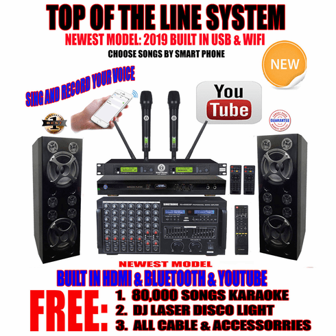 Singtronic Professional Complete 4000W Karaoke System Top of The Line  Model: 2019 Super Tweeters Monster Bass W/ Wifi & Voice Recording FREE:  80,000