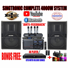 Singtronic Professional Complete 4000W Karaoke System Top of The Line Model: 2020 Super Tweeters & Monster Bass W/ Wifi & Voice Recording FREE: 80,000 Songs & Youtube Songs