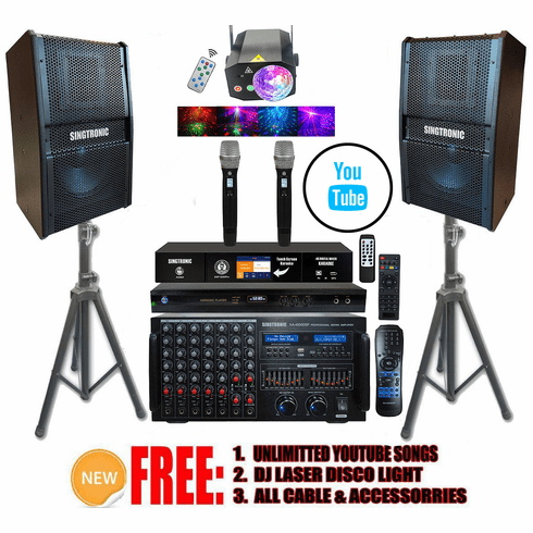 "Singtronic Professional Complete 4000W Karaoke System Built in 3.5"" Touch Screen Processor, HDMI-Arc, Optical, Bluetooth and Digital Equalizer <font color=""#FF0000""> Free: 80,000 Songs & Unlimited Youtube Songs</font> via Iphone/Ipad & PC Tablets"