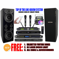 """Singtronic Professional Complete 4000W Karaoke System Built 4K HDMI, Digital Optical Input control by Smart Phone with 6 Super Tweeters & Double 12"""" Monster Bass Free: 80,000 Songs & Unlimited Youtube Songs"""