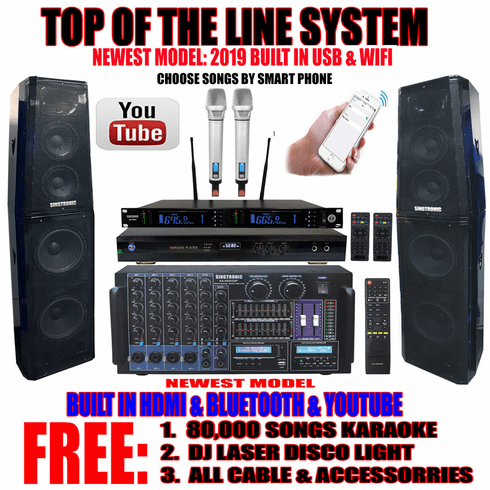 """Singtronic Professional Complete 4000W Karaoke System <font color=""""#FF0000""""><b><i>Top of the Line Newest: 2019 Super Tweeters &amp; Monster Bass W/ Wifi & Voice Recording</i></b></font> FREE: 80,000 Songs & Youtube Karaoke"""