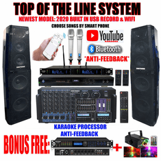 "Singtronic Professional Complete 5000W Karaoke System <font color=""#FF0000""><b><i>Top of the Line Newest: 2020 Super Tweeters &amp; Monster Bass W/ Wifi & Voice Recording</i></b></font> FREE: 80,000 Songs & Youtube Karaoke"