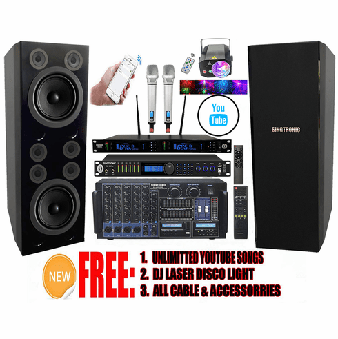 """Singtronic Professional Complete 5000W Karaoke System Built in Voice Record, 4K HDMI, Bluetooth, Digital Optical with Monster Double 12"""" Woofer & Crystal Clear 6 Super Tweeters, Digital Equalizer <font color=""""#FF0000"""">Top of the Line</font>"""