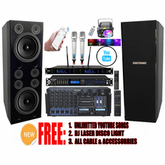 "Singtronic Professional Complete 5000W Karaoke System Built in Voice Record, 4K HDMI, Bluetooth, Digital Optical with Monster Double 12"" Woofer & Crystal Clear 6 Super Tweeters, Digital Equalizer Top of the Line"