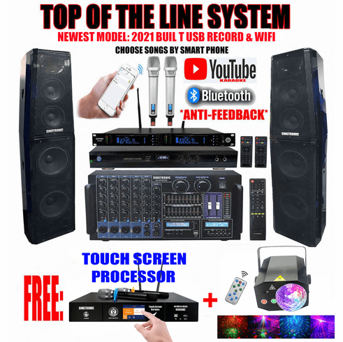 "Singtronic Professional Complete 5000W Karaoke System  Built in 3.5"" Touch Screen, Bluetooth, HDMI-Arc, Digital Optical, Anti-Feedback with Crystal Tweeters & Monster Bass <font color=""#FF0000"">Newest: 2021</font> FREE: 80,000 Songs & Youtube Karaoke"
