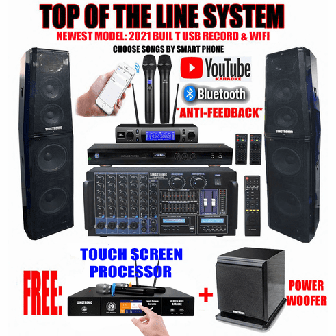 "Singtronic Professional Complete 5000W Karaoke System Built in 3.5"" Touch Screen Processor, HDMI-Arc, Optical, Bluetooth and Digital Equalizer <font color=""#FF0000""> Free: 80,000 Songs & Unlimited Youtube Songs</font> via Iphone/Ipad & PC Tablets"
