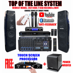 "Singtronic Professional Complete 5000W Karaoke System Built in 3.5"" Touch Screen Processor, HDMI-Arc, Optical, Bluetooth and Digital Equalizer  Free: 80,000 Songs & Unlimited Youtube Songs via Iphone/Ipad & PC Tablets"