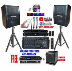 """Singtronic Professional Complete 5000W Karaoke System Built in Voice Record, 4K HDMI, Bluetooth, Digital Optical with Power Subwoofer, Monster 15"""" Woofer & Crystal Clear Compressor, Equalizer Free: 80.000 Songs & Unlimited Youtube"""