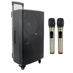 "Singtronic BT-1212Pro Professional Portable 12"" Double Woofer Bluetooth Speaker via Youtube Karaoke System Free: 2 x Wireless Microphone Model: 2021"