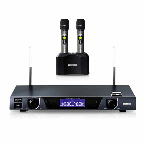 """Singtronic UHF-2500 Professional Digital Dual Rechargeable Wireless Microphone Karaoke System <b><i><font color=""""#FF0000"""">Built in Lithium Battery</font></i></b>"""