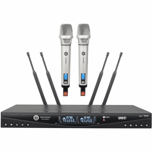 "Singtronic UHF-2500Pro Professional Dual PLL Wireless Microphone Karaoke System <b><i><font color=""#FF0000"">Newest Model: 2020 Built in Feedback Eliminator</font></i></b>"
