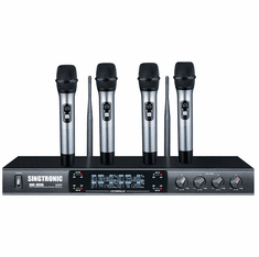 "Singtronic UHF-3500 Professional Digital Quad Channel Wireless Microphone Karaoke System <font color=""#FF0000""><i><b>Newest Model: 2020</b></i></font> Best Seller"