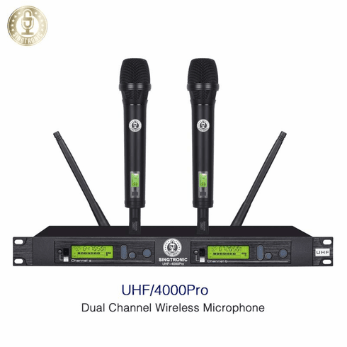 "Singtronic UHF-4000Pro-Black Professional Digital Dual PLL Wireless Microphone Karaoke System <i><font color=""#FF0000"">Metallic Black</font></i>"