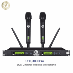 Singtronic UHF-4000Pro-Black Professional Digital Dual PLL Wireless Microphone Karaoke System Metallic Black