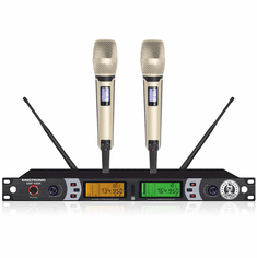 "Singtronic UHF-550K Professional Dual Wireless Microphone Karaoke System <font color=""#FF0000""><i><b>Newest Model: 2020 White Handheld</b></i></font> Best Seller"
