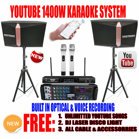 "<i><b><font color=""#FF0000"">Model: 2020 Youtube Karaoke System by Iphone/Ipad &amp; Pc Tablet</font></b></i> Professional 1400W Complete Karaoke System Built in USB Voice Record, Bluetooth & Optical"