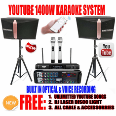 "<i><b><font color=""#FF0000"">Model: 2019 Youtube Karaoke System by Iphone/Ipad &amp; Pc Tablet</font></b></i> Professional 1400W Complete Karaoke System Built in USB Voice Record, Bluetooth & Optical"