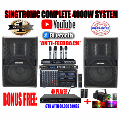 "Singtronic Professional Complete 4000W Karaoke System <font color=""#FF0000""><b><i>Newest: 2019 With DSP-888 Digital Echo Processor Anti-Feedback</i></b></font> FREE: 4K HDD Player 80,000 Songs & Unlimited Youtube Songs"