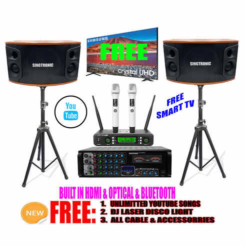 """<i><b><font color=""""#FF0000"""">Model: 2020 Youtube Karaoke System by Iphone/Ipad &amp; Pc Tablet</font></b></i> Professional 1200W Complete Karaoke System Built in USB Voice Record, Bluetooth & Optical"""