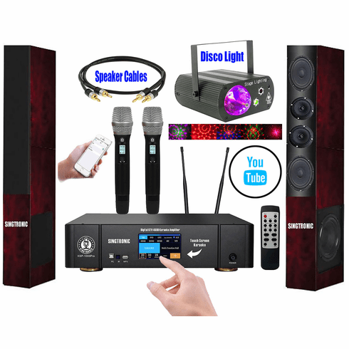"""Youtube Karaoke System Control Iphone/Ipad & PC Android Tablet by Singtronic Complete 3000W Karaoke System Built in 3.5"""" Touch Screen, HDMI-Arc, Bluettooth, Digital Equalizer, Optical Input"""