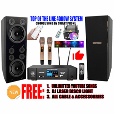 Youtube Karaoke System via Iphone / Ipad & PC Android Tablet by Sintronic Professional 4000W Karaoke System Built in HDMI-Arc, Equalizer, Anti-Feedback, Digital Optical