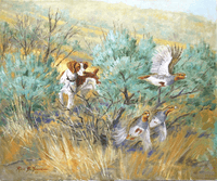 SOLD Brittany: Sagebrush Huns - original oil