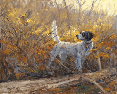 English Setter and woodcock: Parlor Tricks – giclee