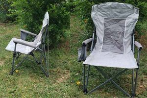 Blue and Gray Folding camping Chair with Mesh Back